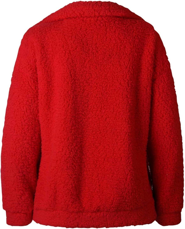 CYUBIM Women Casual Fleece Fuzzy Faux Open Front Warm Winter Outwear Jacket Shaggy Coat