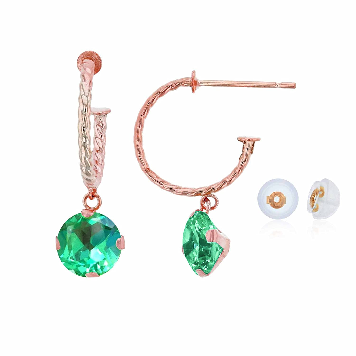 10K Rose Gold 12mm Rope Half-Hoop with 6mm Round Created Green Sapphire Martini Drop Earring with Silicone Back