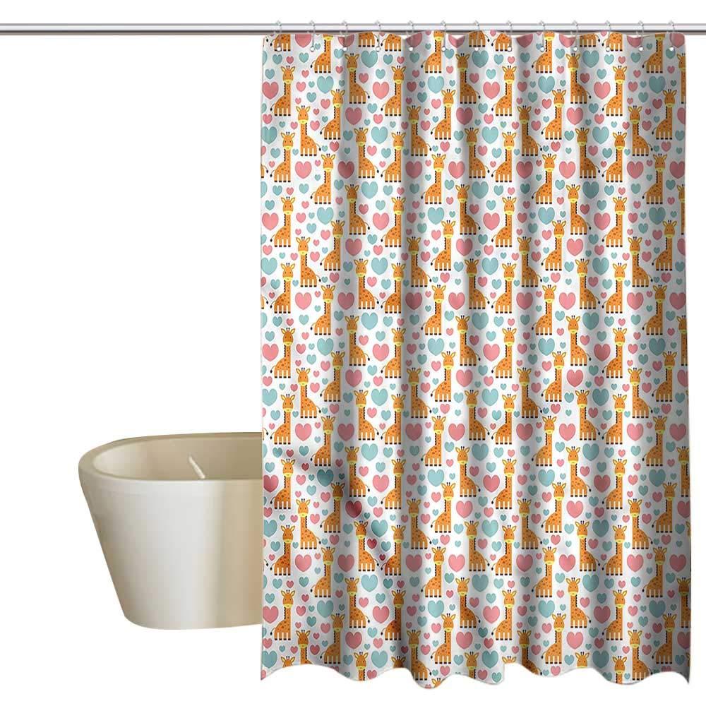 Denruny Shower Curtains Cloth hookless Giraffe,Cartoon Animals Hearts,W48 x L84,Shower Curtain for clawfoot tub