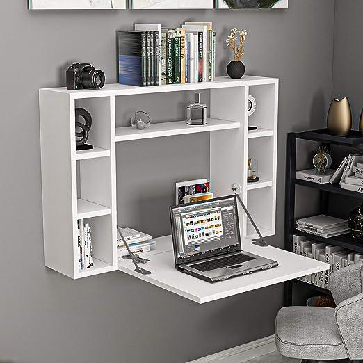 Klapptisch Schreibtisch Wandtisch Tisch ausklappbar Computertisch weiß Funktion