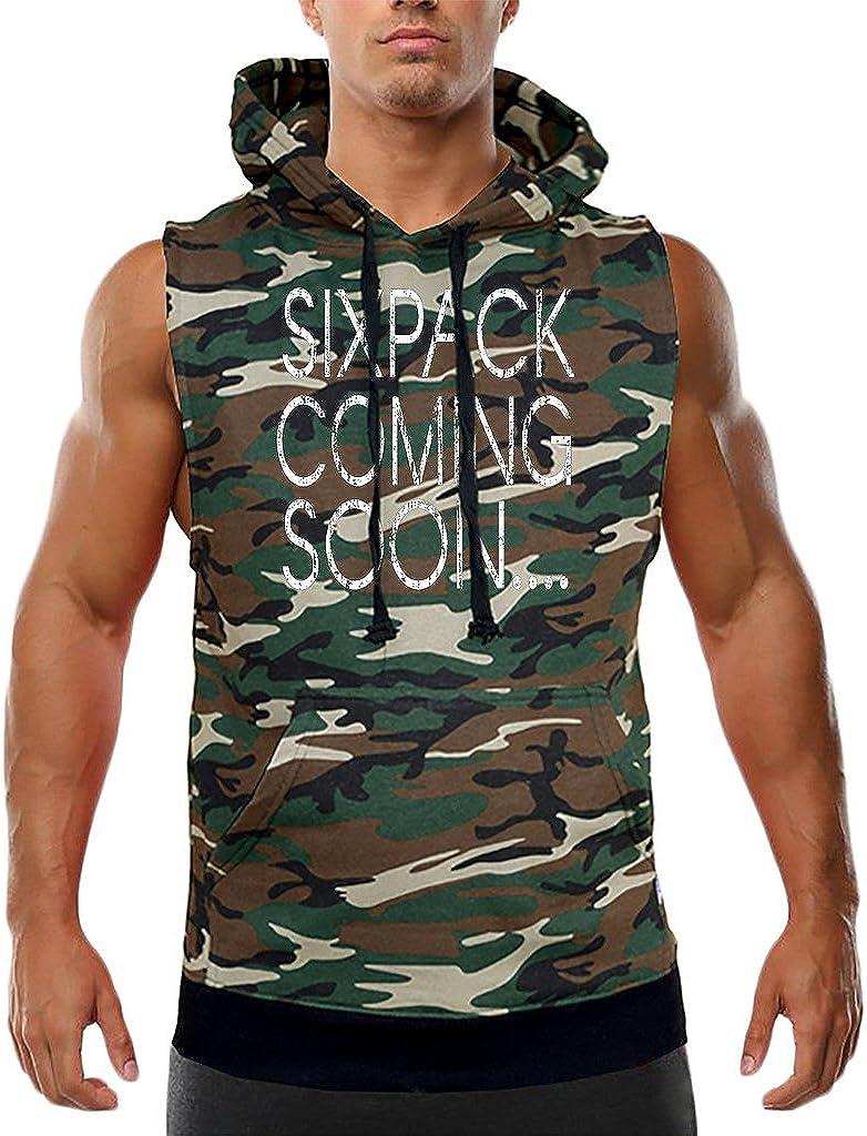 Mens Six Pack Coming Soon Sleeveless Vest Hoodie