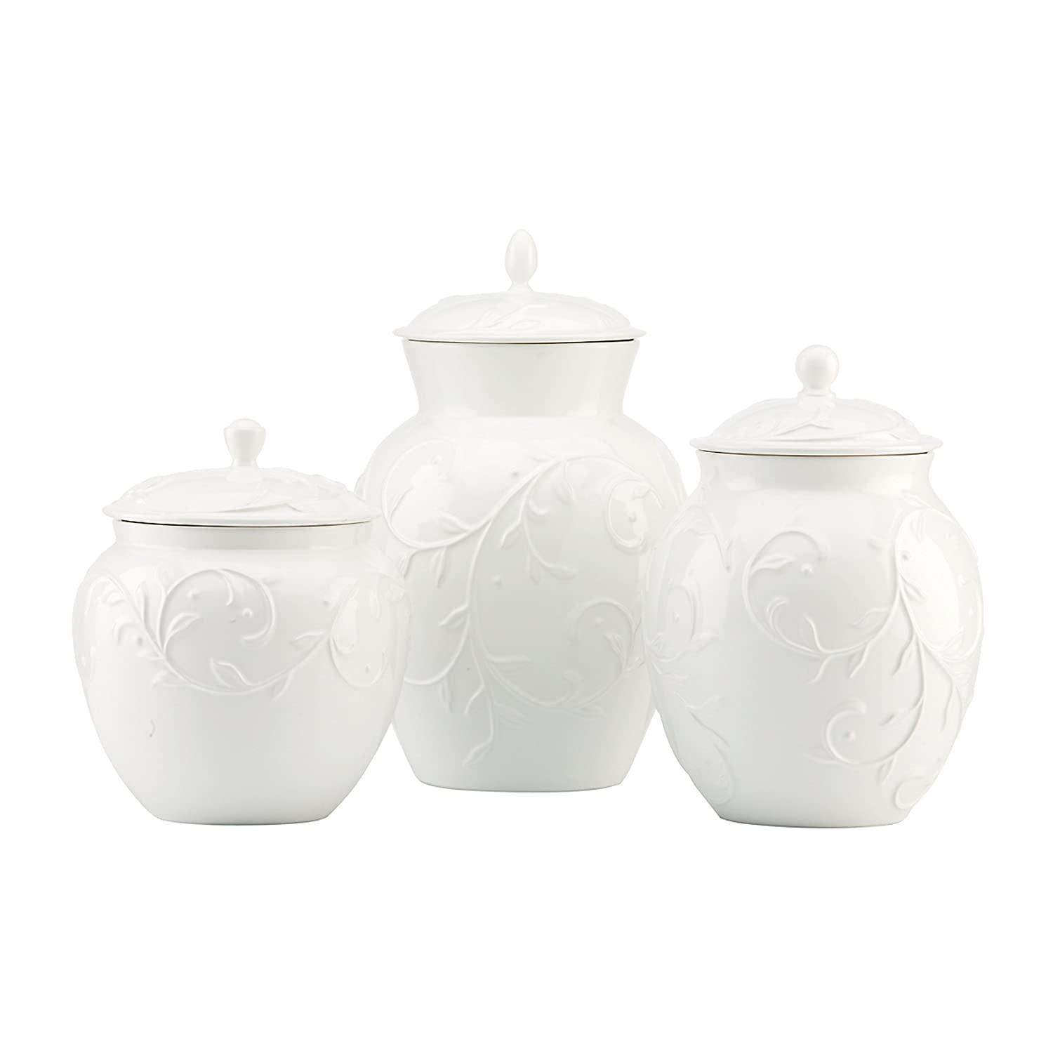amazon com lenox opal innocence carved 3 piece canister set amazon com lenox opal innocence carved 3 piece canister set kitchen storage and organization product sets kitchen dining