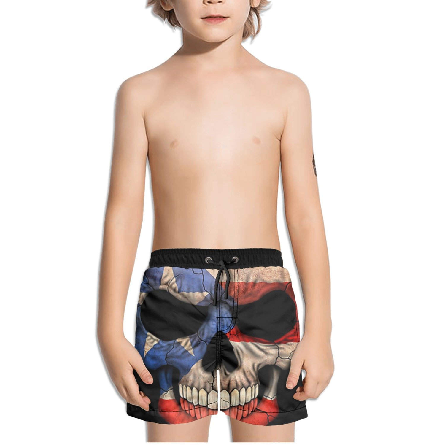 Ouxioaz Boys Swim Trunk Puerto Rican Flag Skull Beach Board Shorts