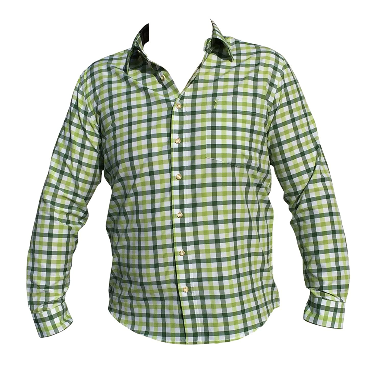Trachtenhemden Herren Hemden Freizeit Business Hochzeit Grün Weiß Karo Baumwolle Langarm