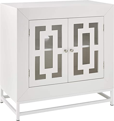 Amazon Brand Ravenna Home Classic Glass-Doored Media Storage Cabinet, 31.5 W, White