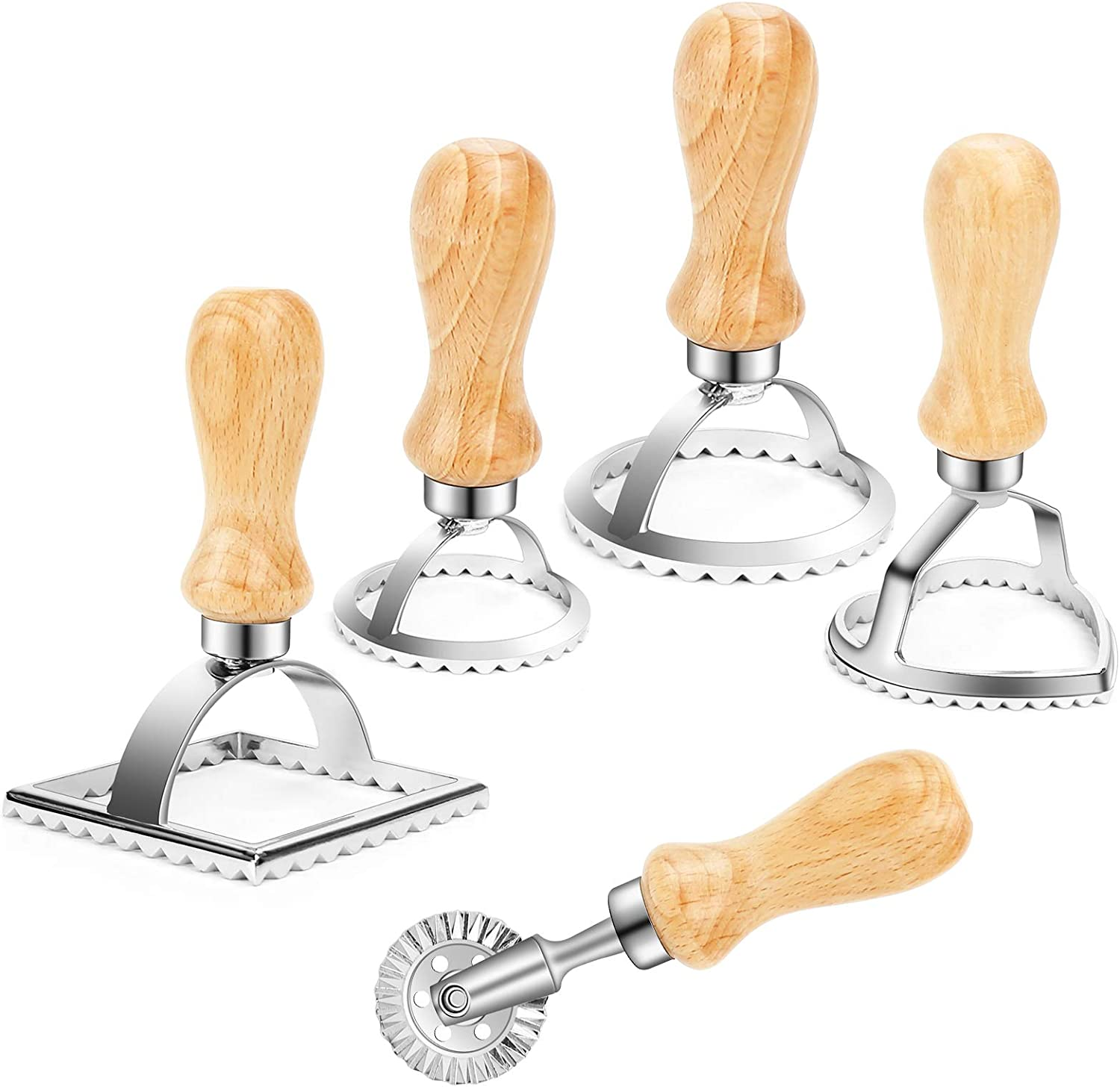 Freehawk 5-Piece Ravioli Stamp Set Ravioli Stamp Maker Cutter Pasta Roller Wheel Cutter with Wooden Handle for Ravioli Pasta Dumplings Dough Cutter