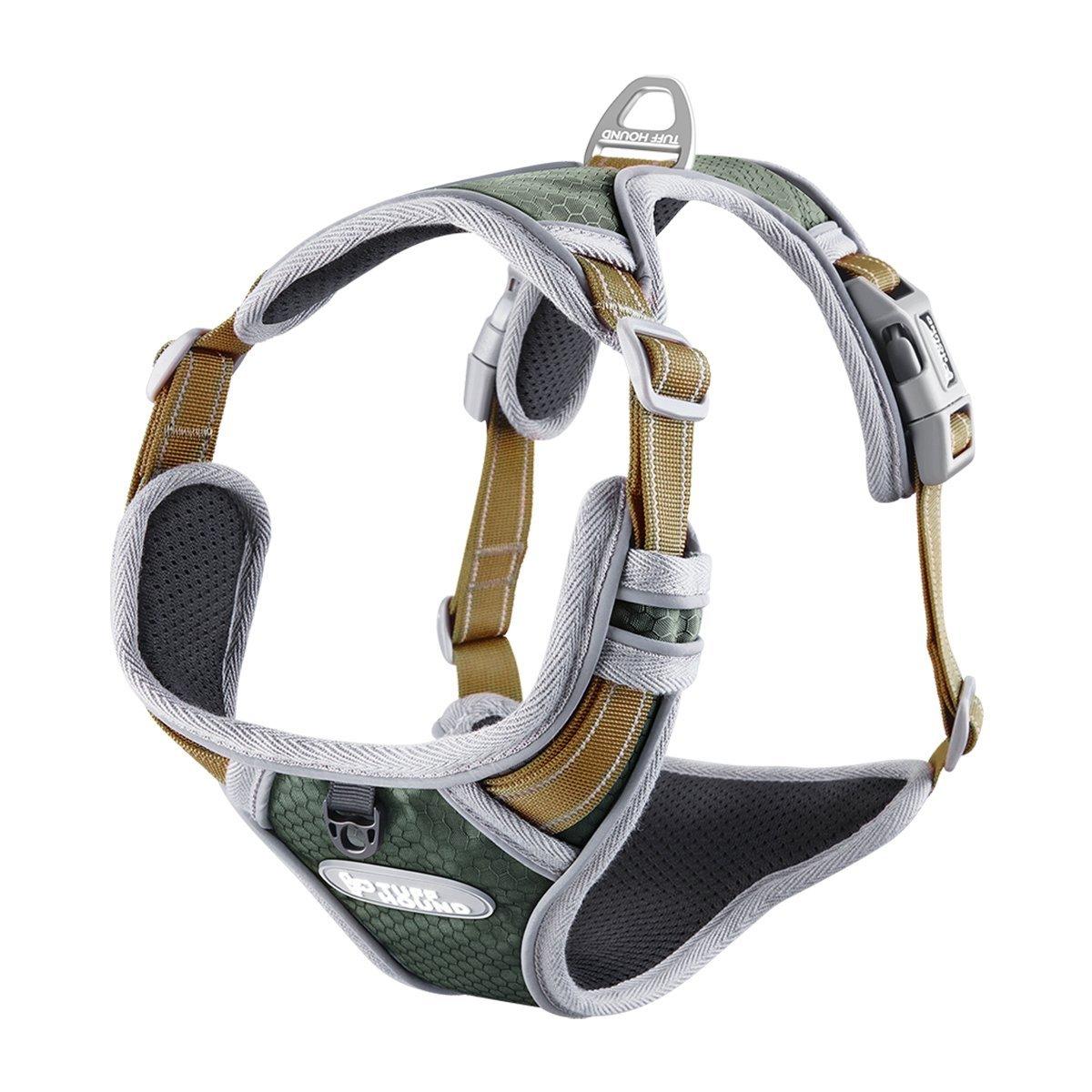 Tama/ño S 38-52CM Louvra Arnes del Perro Collar Correa La Manija Adjustable de Nylon 3M Reflectante para Realizar el Servicio Aire Libre a Prevenir La Ruptura Color Verde