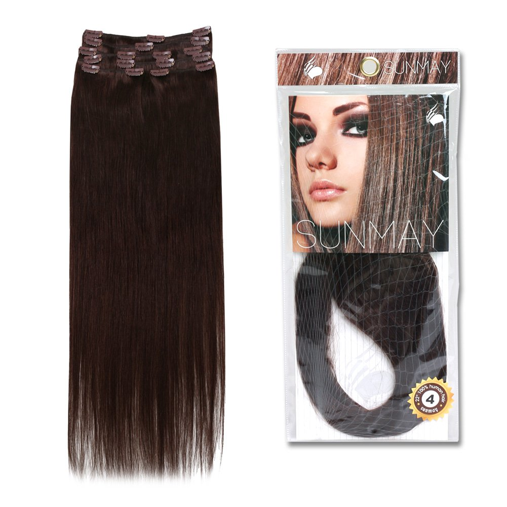 Amazon sunmay16 22 remy human hair clip in extensions amazon sunmay16 22 remy human hair clip in extensions dark brown color 4 8 pcs full head set 65g 85g 1665g 4 beauty pmusecretfo Gallery