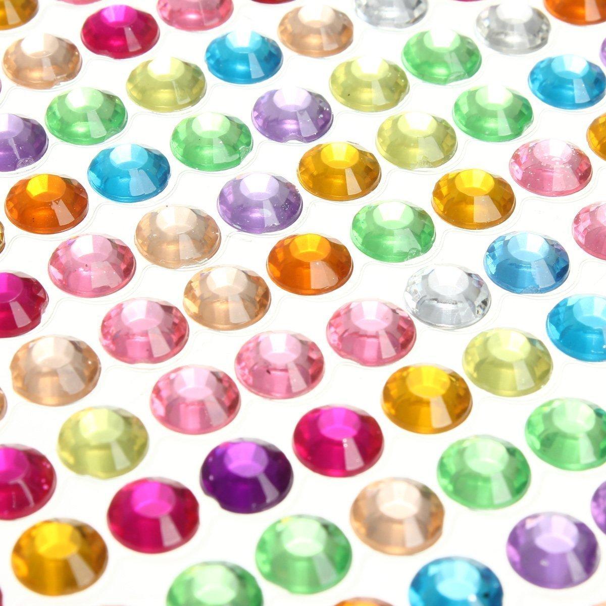 Parth Impex 1699pezzi 3mm 4mm 5mm 6mm Bling autoadesivo multicolore strass acrilico foglio diamante gioiello gioiello adesivi per di scrapbooking abbellimenti DIY Arts Crafts Body Face Nails Pimpex-0015