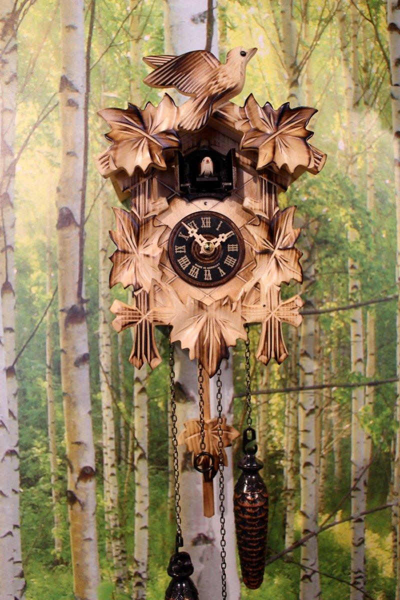 Kuckucksuhr geschnitzt geflammt Quarz Uhr 5 Laub Vogel Schwarzwald