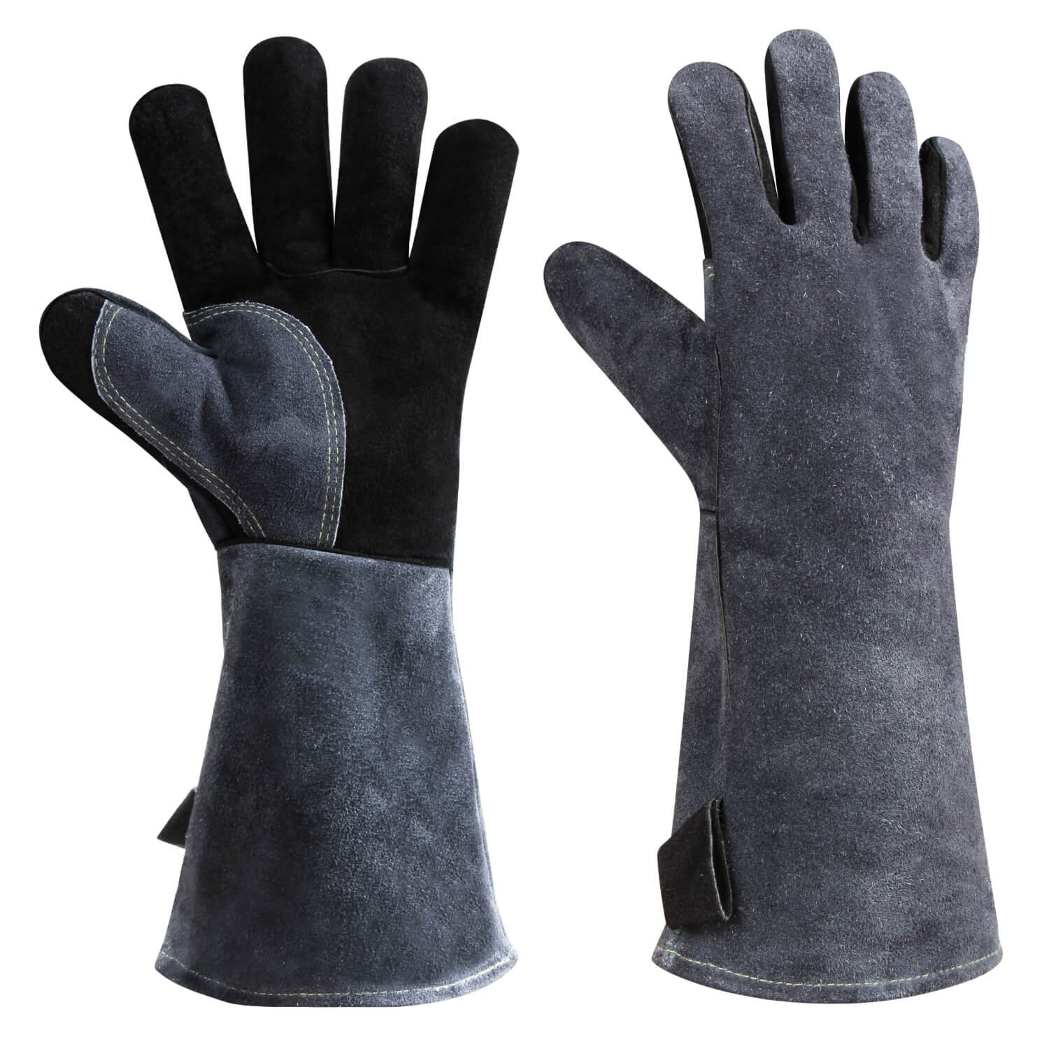 Upgrade Welding BBQ Gloves, 932°F Heat Resistant Leather Grill Glove for Tig Welder/Grilling/Barbecue/Oven/Fireplace/Wood Stove - Long Sleeve and Insulated Cotton Lining - Black-gray(16-inch)