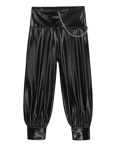 Harem Pants for Kids Girls Metallic High Waist Dance Hip Hop Trousers with Chain