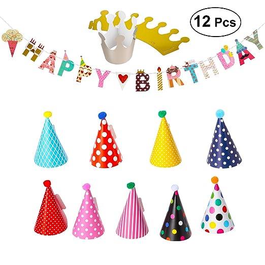 Amazon Happy Birthday Banner Party Hats Polka Dot DIY Cute Handmade Cap Hat Baby Shower Decoration Set For Boys Girls Clothing