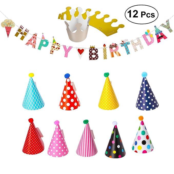 Amazon.com: Pancarta de feliz cumpleaños, sombreros de ...