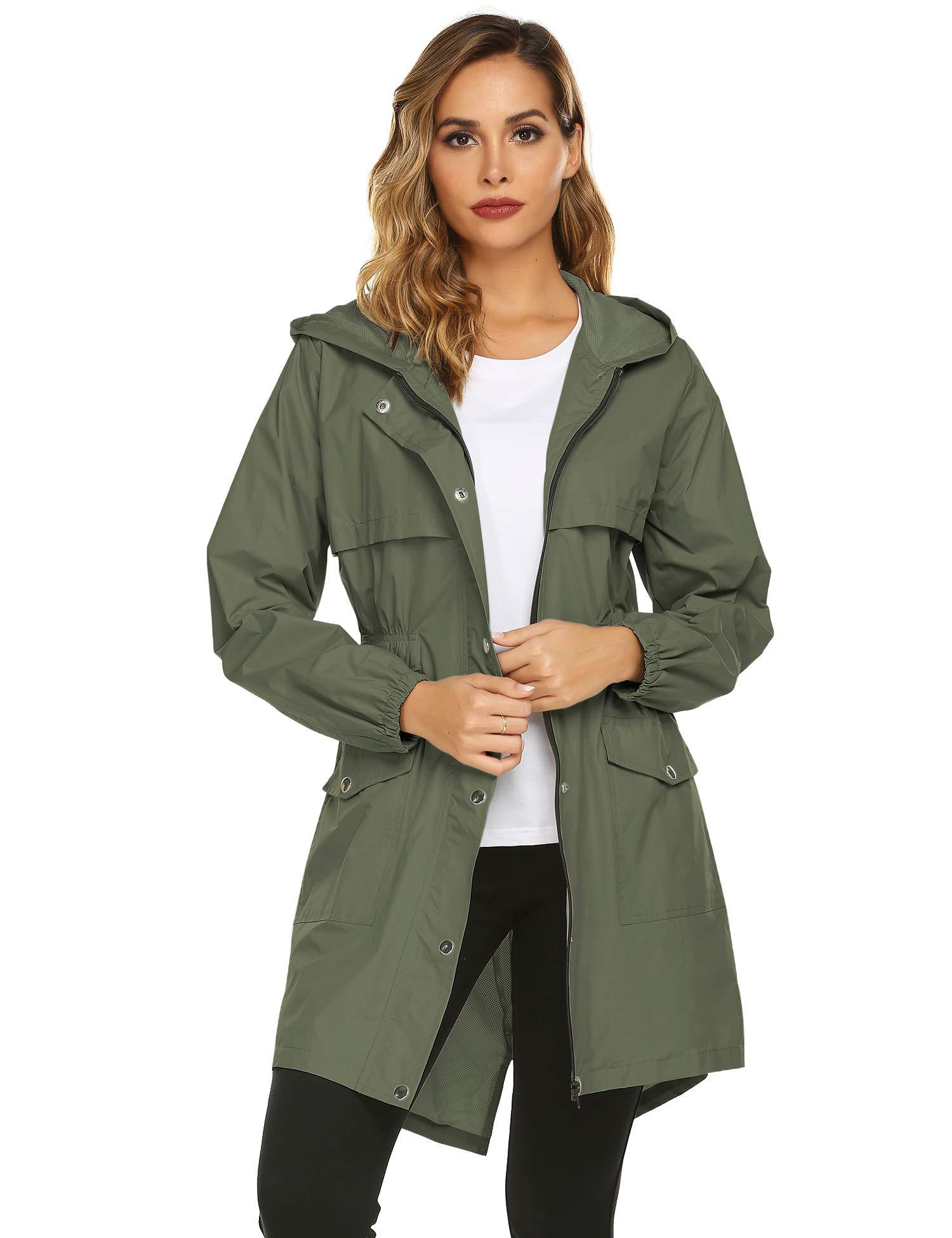 Avoogue Womens Rain Coat Waterproof Lightweight Rain Jacket Active Hooded Women's Trench Coats Army Green by Avoogue