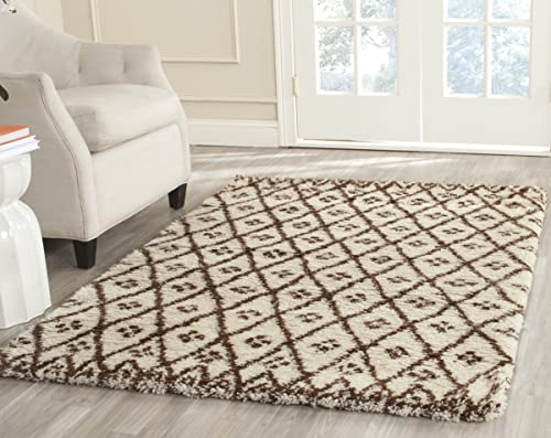 Safavieh Casablanca Shag Collection CSB839A Handmade Ivory and Gold Premium Wool Cotton Area Rug 8' x 10'