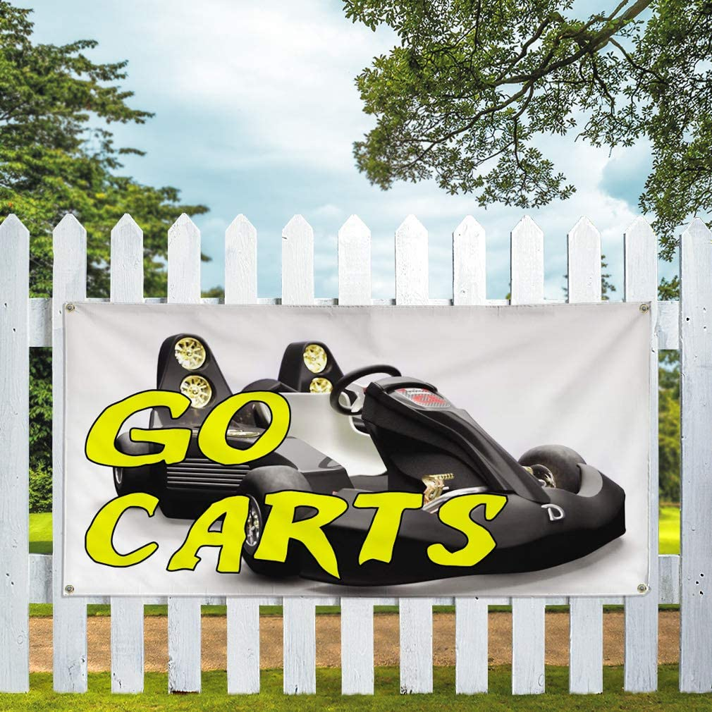 Multiple Sizes Available 8 Grommets 44inx110in One Banner Vinyl Banner Sign Go Carts #1 Business Go Carts Outdoor Marketing Advertising White