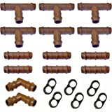 """Habitech Irrigation Fittings Kit for 1/2"""" Tubing 20 Piece Set - 6 Tees, 6 Couplings, 2 Elbows, 6 End Cap Plugs - Barbed Connectors for Rain Bird and Compatible Drip or Sprinkler Systems"""