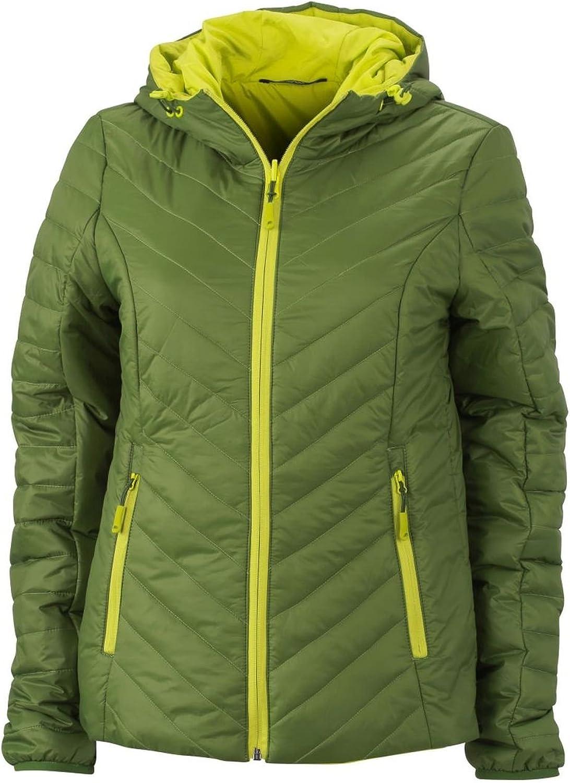 2Store24 Giacca Reversibile Leggera con Imbottitura Donna in Ovatta Dupont™ Sorona® Ladies' Lightweight Jacket Jungle-green/Acid-yellow
