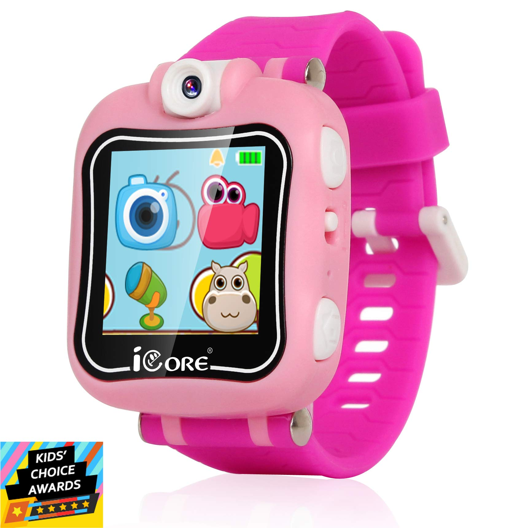 iCore Durable Kids Smartwatch, Electronic Child Smart Watch Video Games, Children Digital Tech Watches, Touch Screen Learning Timer Alarm Clock with Camera for Girls Boys