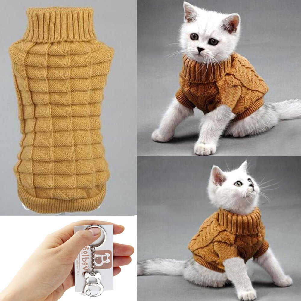 Brown Medium Brown Medium Bolbove Cable Knit Turtleneck Sweater for Small Dogs & Cats Knitwear Cold Weather Outfit (Brown, Medium)