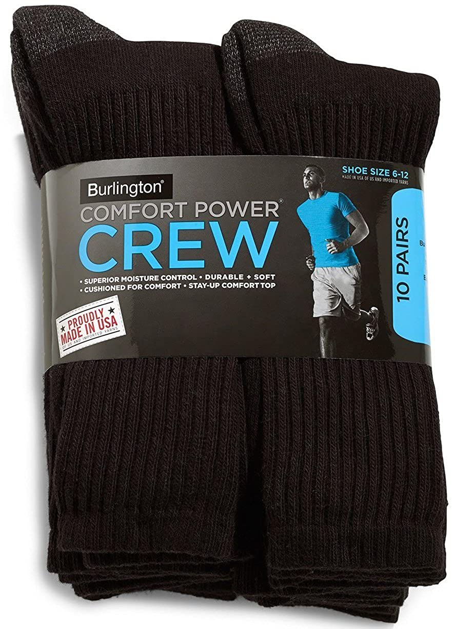 Burlington Comfort Power Men's 10 Pair Black Crew Socks