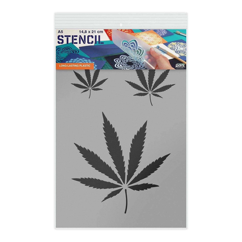 artigianato plastica muro Larghezza della foglia inferiore 11,3 cm A5 14,8 x 21 cm Stencil riutilizzabile per bambini Stencil di cartone o di plastica forno stencil di mobili Pittura Stampino di cannabis