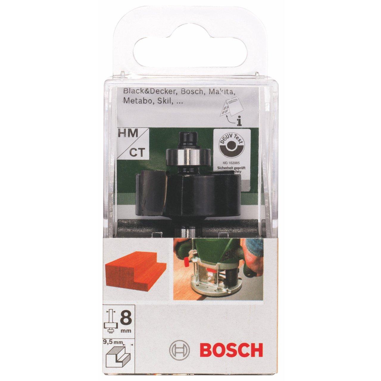 Bosch 2609256606 Fraise /à feuillurer 2 tranchants Roulement en carbure de tungst/ène Profondeur de coupe 9,5 mm Tige 8 mm