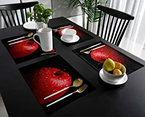 SUN-Shine Placemats Set of 6 Red Apples Painting Placemat for Dining Table Decorations, Washable Table Mats for Kitchen Dinner Banquet Water Drop Fruit Black Art