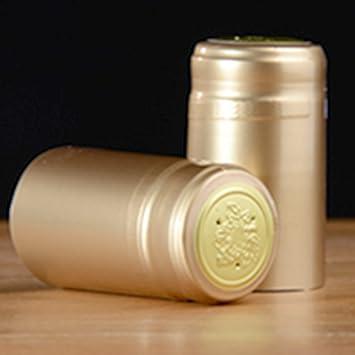 Termorretráctiles para botella de vino cápsulas, 100 Count Gold (Glossy)