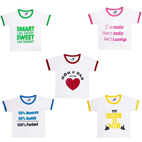 Zura's Export Quality Cotton Boy Baby Tshirt / Girl Baby Tshirt / Baby dress / Kids Tshirt / Baby Teeshirt (Pack of 5) Baby Boys at amazon