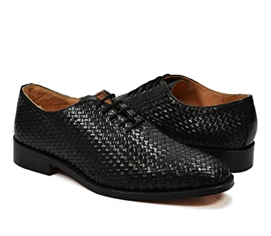 4168bbc5deb68 Amazon.com | Paul Malone Black Woven Oxfords, Full Leather | Oxfords