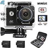 WIMIUS アクションカメラ 4K (30FPS) スポーツ アクションカム 防水 wifi アタッチメント豊富 多機能カメラ (ブラック)