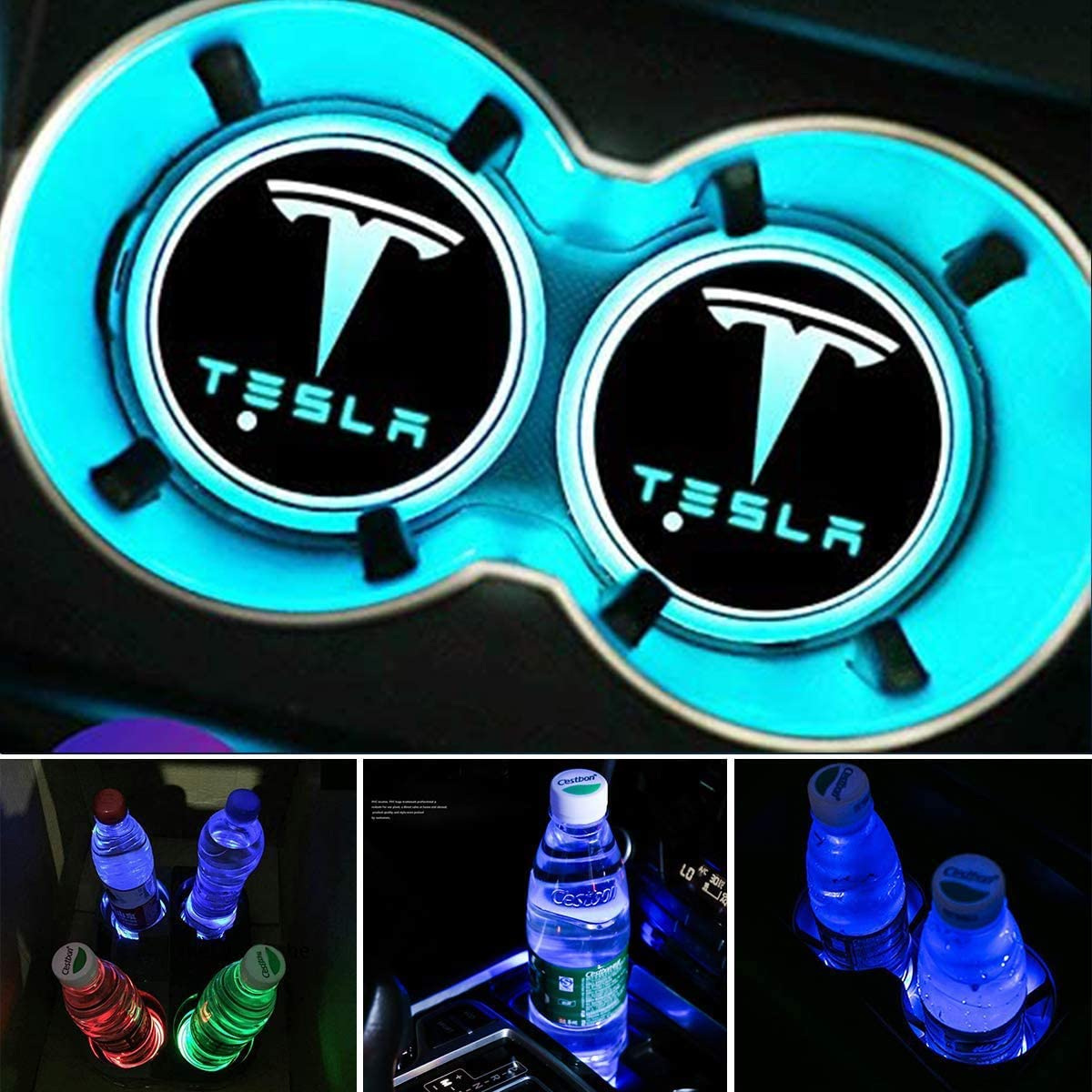 topfit Tesla Modelo 3 Modelo S Modelo X LED Portavasos para coche Luz USB recargable Coj/ín de copa luminiscente 7 colores L/ámpara de ambiente Luz de decoraci/ón interior 2 piezas por juego