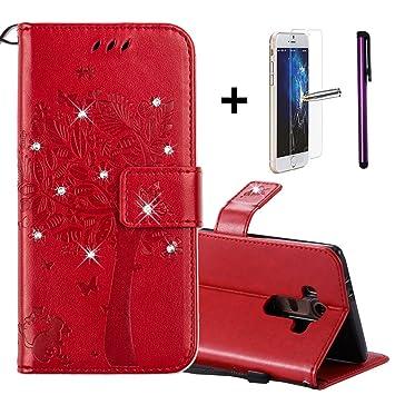 LG G4 cartera funda [con libre Protector de pantalla de vidrio templado + 1 lápiz capacitivo] Premium suave portátil cartera de piel sintética diseño ...