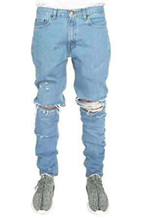 enslaved Mens Light Wash Ripped Tapered Denim Jeans at Amazon ...