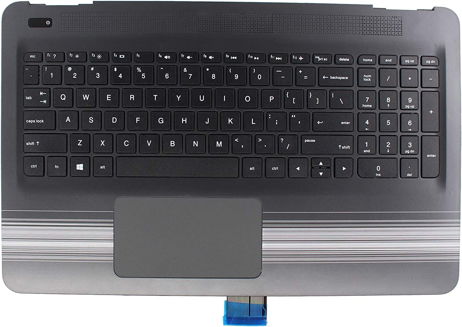 XtremeAmazing Palmrest with Non-Backlit Keyboard and Touchpad 856028-001 for HP Pavilion 15-AU 15-AW