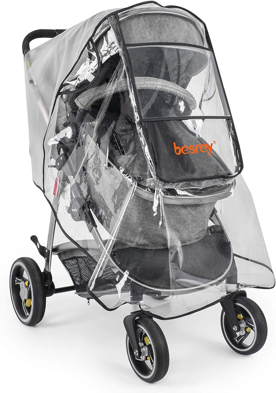 Besrey Protector de Lluvia,Capa de Lluvia para cochecitos/sillas de Paseo Protecciones contra Agua y Viento(Universal)