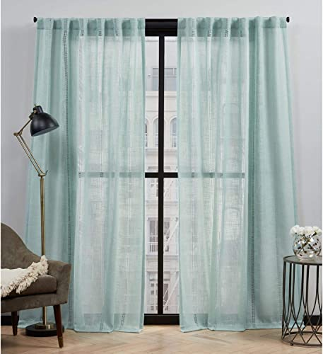 Elle Decor Fiona Sheer Back Tab Rod Pocket Curtain Panel Pair