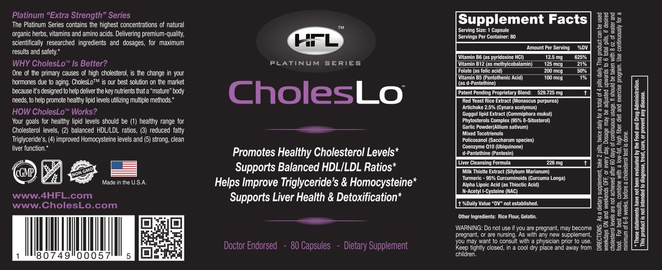 CholesLo - 3 Bottle Combo - Contains Red Yeast Rice, Policosanal, Phytosterol, Guggulsterone, Sytrinol, CoQ10, Pantesin, Milk Thistle. Lowers Cholesterol