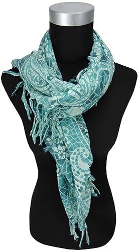 TigerTie foulard in turchese menta lavorato con frange - dimensione 90 cm x 90 cm