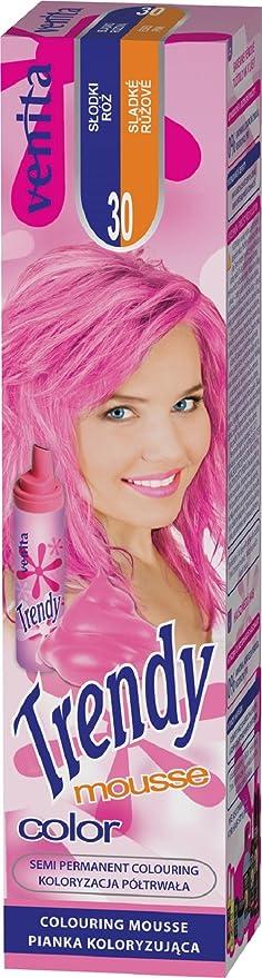 Venita Trendy Color Mousse Foam Coloración para el cabello, tono craquelado rosa dulce (rosa dulce, n.º 30)
