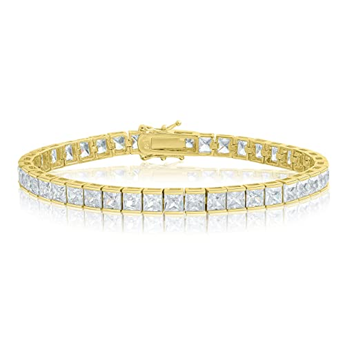 ef11c8ed8f383 KEZEF Creations Square Princess Cut 4x4mm White Cubic Zirconia Tennis  Bracelet in Rose, 14K Gold & Rhodium Plated Silver