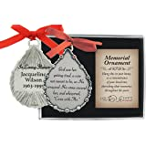 Personalized Cathedral Art Tear-Shaped Memorial Ornament (God Saw Her Getting Tired)