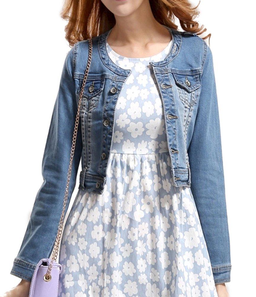 Fundu Women's Blue Sweet Summer Cool Denim Crew-neck Long Sleeve Top Jacket US 6