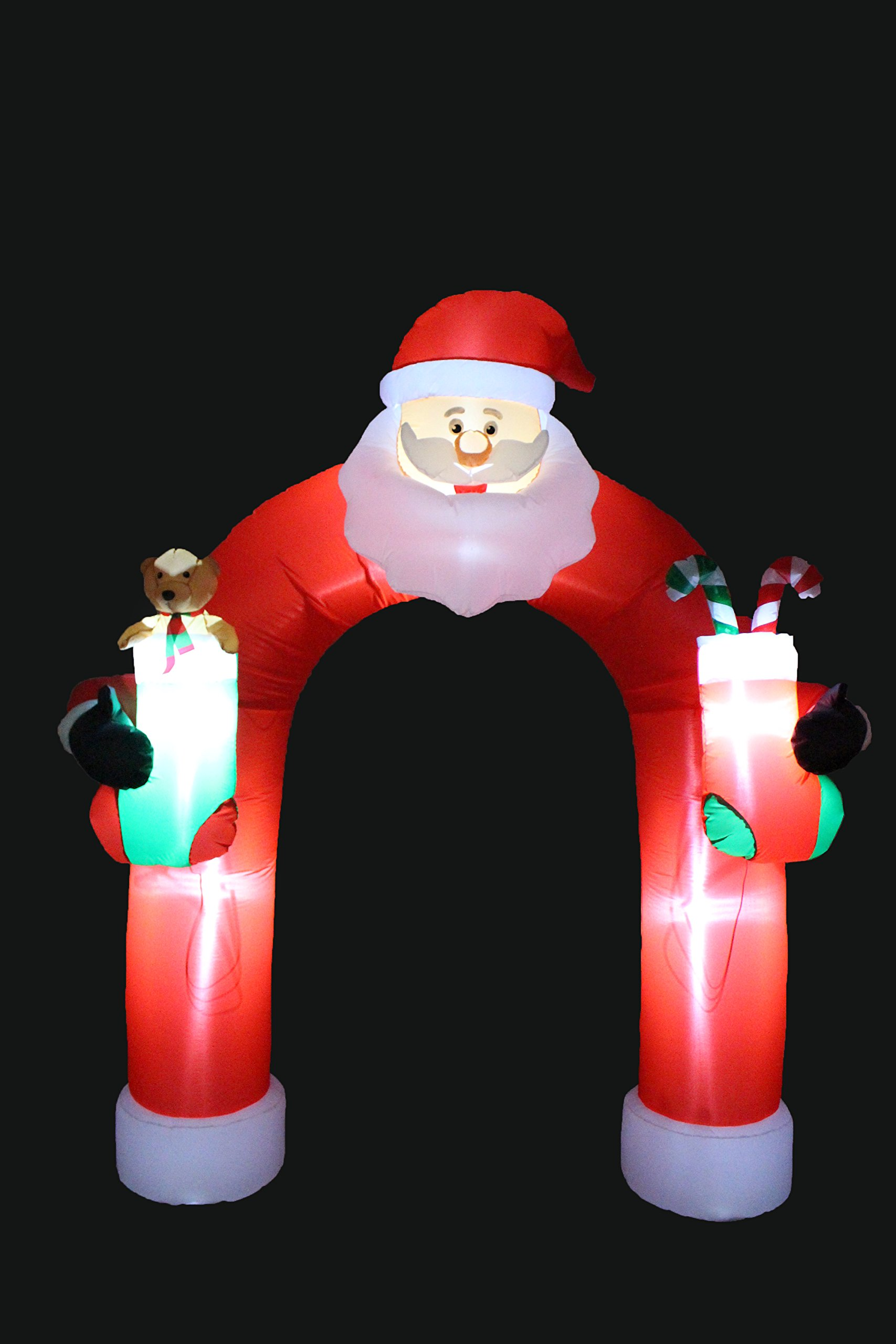 9 Foot Tall Lighted Christmas Inflatable Santa Claus Archway Arch with Teddy Bear Sugar Cane Cute Indoor Outdoor Garden Yard Party Prop Decoration by Blossom (Image #4)