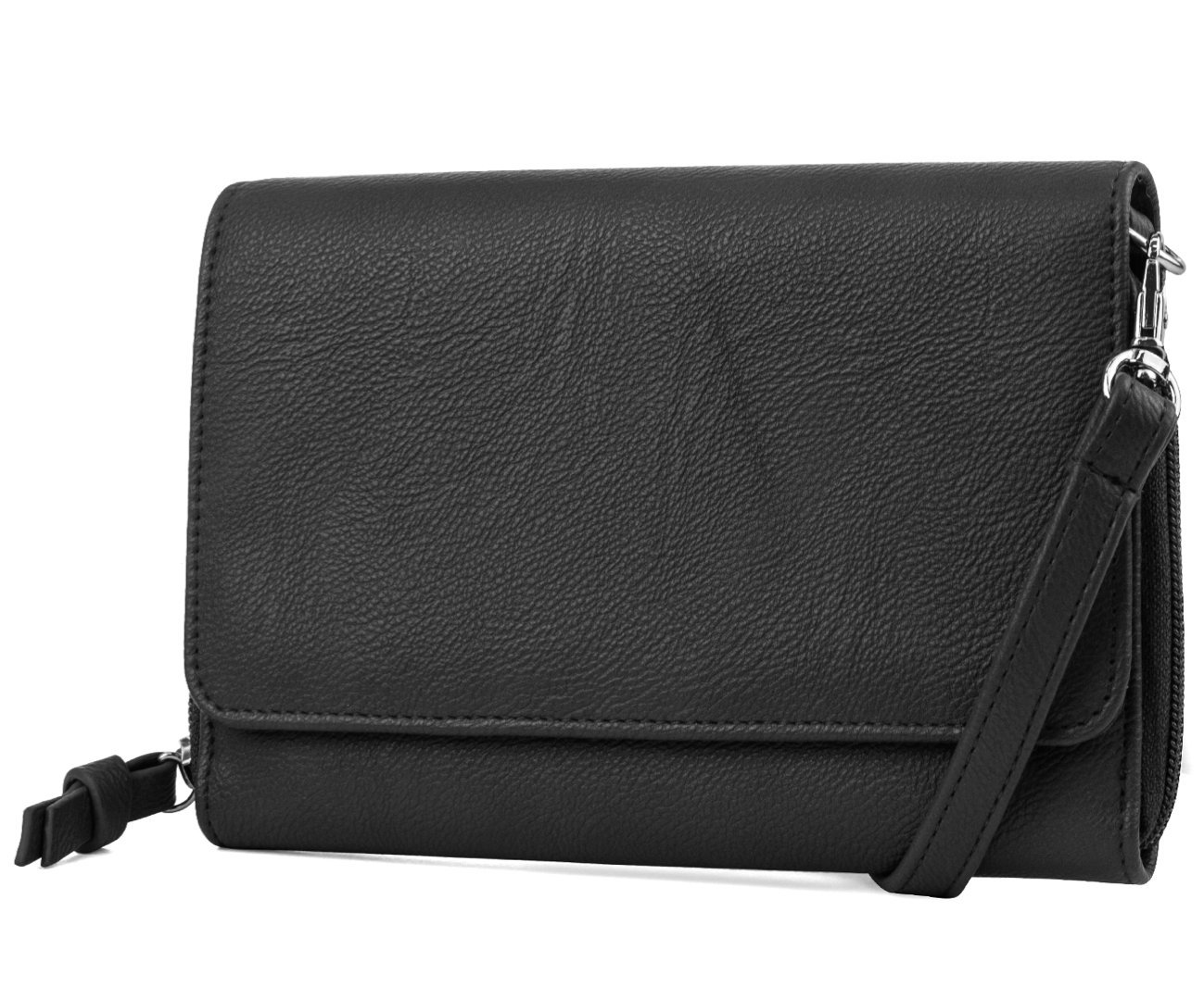 Mundi RFID Crossbody Bag For Women Anti Theft Travel Purse Handbag Wallet Vegan Leather (Black)