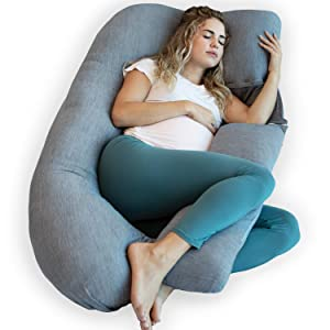 PharMeDoc Pregnancy Pillow with Cooling Cover, U-Shape Full Body Pillow and Maternity Support - Support for Back, Hips, Legs, Belly for Pregnant Women
