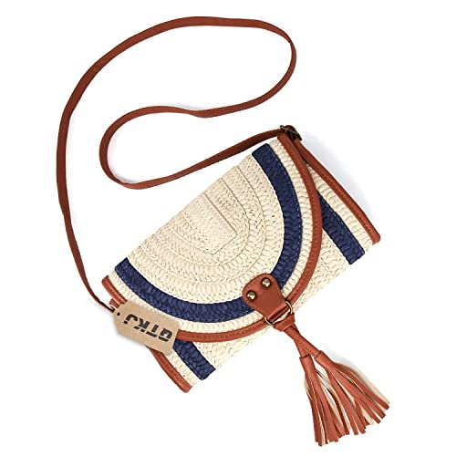 Amazon.com: Paja Crossbody de ganchillo, Mini bolsos verano ...