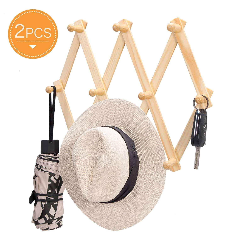 Timoo Expandable Hat Rack Accordion Hanger 10 Hooks Wall Rack for Coat, Hat, Cap, Belt, Coffee Mug, 2 Pack